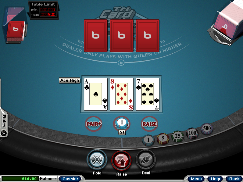 Bodog Casino Tri-card Poker